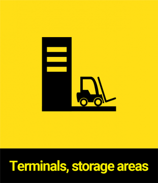 Terminals, storage areas